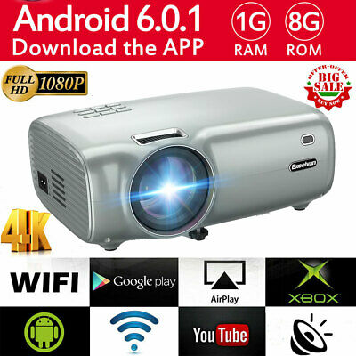 """WiFi 1080P HD 7000 Lumen Android 6.0 LED Projector Home Theater 200"""" 3D HDMI 8GB"""