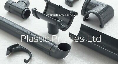 Anthracite Grey Half Round Plastic UPVC Guttering Downpipes Rainwater Fittings