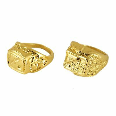 Adult Fake Gold Ring Pimp Daddy Mr T Sovereign Gangster Fancy Dress Accessory