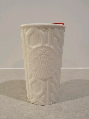Starbucks White Patterned Ceramic Tumblr