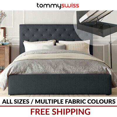 TOMMY SWISS: King Queen Double Size Gas Lift Storage Fabric Bed Frame - Diamond