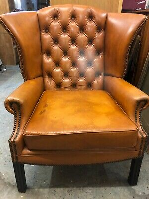 Chesterfield Queen Anne High Back Wing Chair Antique Tan Leather