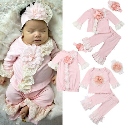 UK Infant Baby Girl Lace 3D Flower Tops T-Shirt Pants/Swaddle Blanket Outfit Set