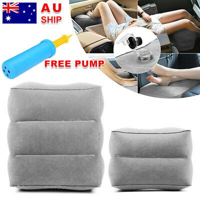 Travel Inflatable Foot Rest +  Air Pump Portable Pad Footrest Kids Bed Pillow