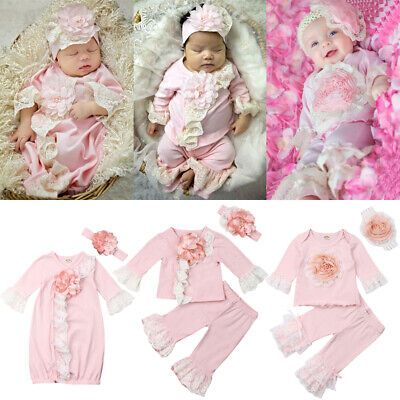 Infant Baby Girl Lace 3D Flower Tops T-Shirt Pants/Swaddle Blanket Outfits Set