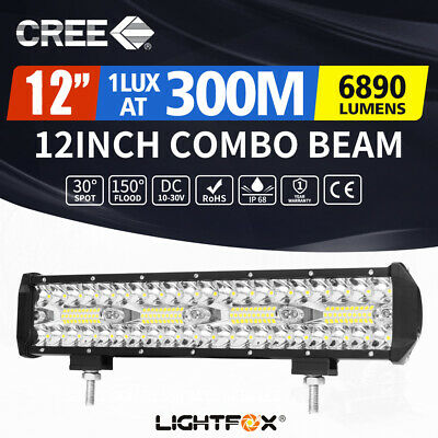 12inch CREE LED Work Light Bar Spot Flood Fog Driving OffRoad 4WD 4x4 Reverse
