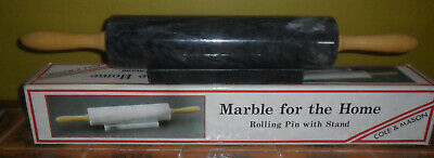 Cole And Mason Natural Marble Rolling Pin With Stand Black