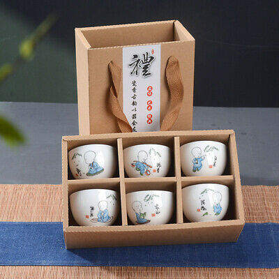 6Pcs Hand Painted Ceramic Creative Gifts Kung Fu Tea Set Bowl Chinese Porcelain