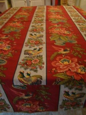 """Bird and Floral Design Tablecloth - Oval - Approx. 68"""" x 64"""" - Used - Homemade"""