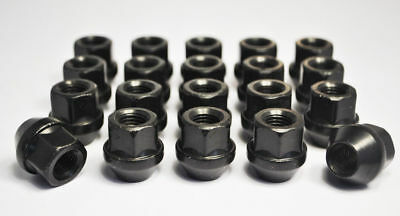 Set of 24 x M12 x 1.25, 19mm Hex Open Alloy Wheel Nuts (Black) SUBARU SUZUKI