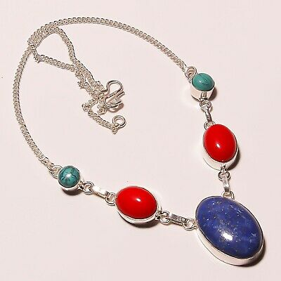 Awesome Lapis Lazuli Coral Turquoise Silver Plated Handmade Necklace 17-18""