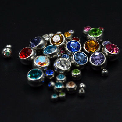 12pc Body Jewelry Piercing Replacement CZ Ball Stainless Steel Ball For 14g 16g