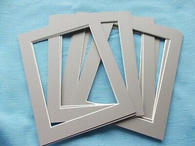 """Pack of 10 Photo,Frame Mounts-Outer 9""""x7""""=Inner 6.5"""" x 4.5""""=GREY =FREE POSTAGE"""