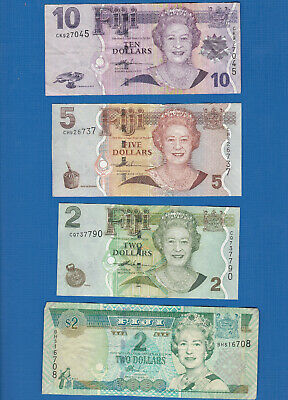 #D490. Four Circulated  Fiji   Banknotes