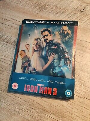 Steelbook Exclusif Iron Man 3 4K Ultra HD (Blu-ray 2D inclus) Rare MARVEL ZAVVI