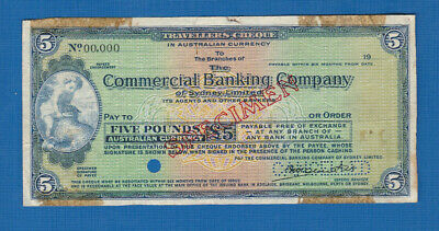 #D490. Specimen Cbc Commercial Banking Company  Check / Cheque For 5 Pounds