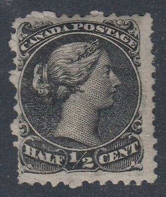 "Canada MINT OG Scott #21  1/2 cent black  ""Large Queen""   HCV $200"