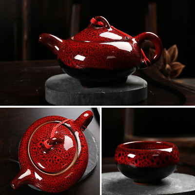 7pcs/set Tea Cups+Tea Pot Creative KungFu TeaSet Ceramic Red Glaze Tea Sets Gift