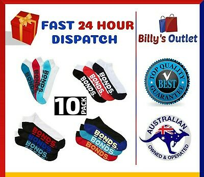 10 Pairs Bonds Mens Sports Ankle Low Cut Running Gym Socks Size 6 10 11 14
