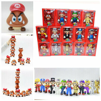 "5""High Quality Super Mario Bros Odyssey Luigi Mario Action Figure Toy+Gift Box"