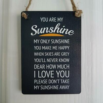 You Are My Sunshine You Make Make Happy I Love You Black Mini Metal Sign