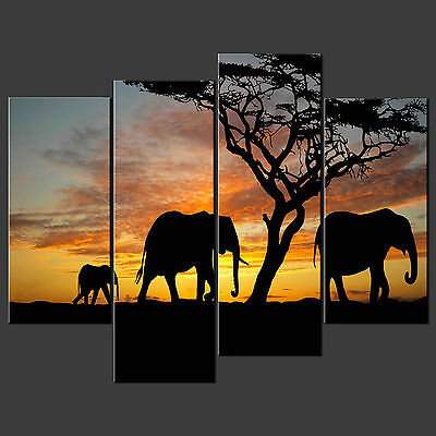 Sunset Elephants Cascade Canvas Print Picture Ready To Hang