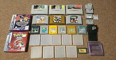 Assorted Gameboy, Nintendo 64, SNES, GBA games, cases and accessories