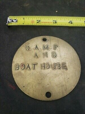 Vtg camp & boat house used log cabin brass tag circle cow (ss)