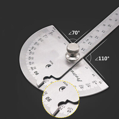 Stainless Steel Angle Ruler 180degree Protractor Finder Arm Measuring Tool UK