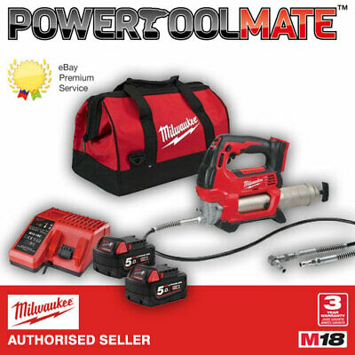Milwaukee M18GG-502B 18v Cordless Grease Gun, x2 5Ah Batteries, Charger & Bag