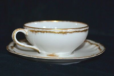antique Theodore Haviland china white gold trim 5 cups & saucers Limoges France