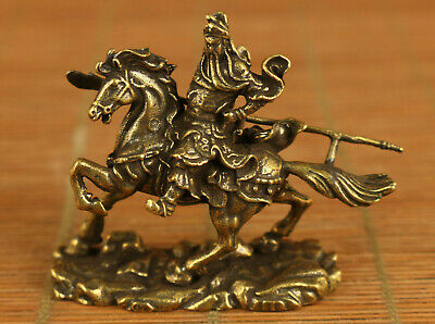 Chinese old bronze hand carving Guangong horse riding statue figue netsuke gift