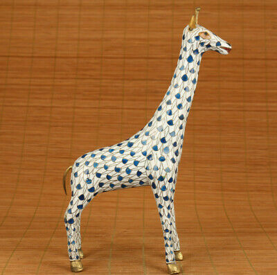 Antiques old cloisonne hand painting giraffe statue netsuke table decoration