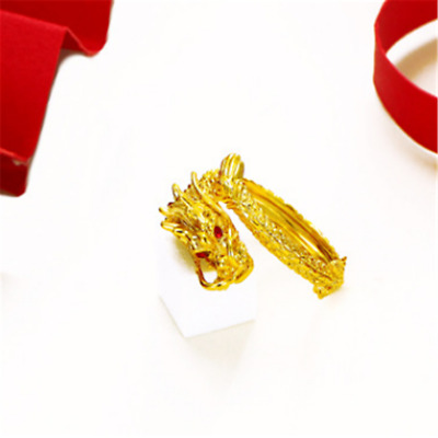 Gold-Plated Adjustable Dragon Pattern Rings For Unisex classic Fine jewelry