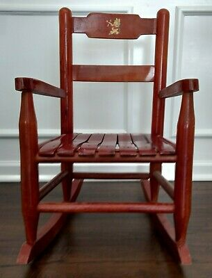 1960's Vintage Children's Wooden Slatted Rocking Chair Decal