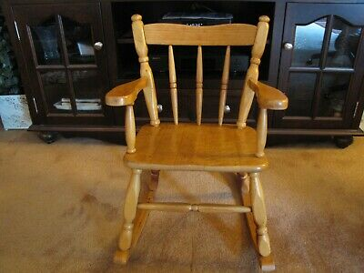 Vintage Wooden Small Child/doll/kids Rocking Arm Chair - Excel. Cond.