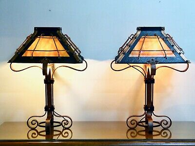 Antique Arts & Crafts Misson Hammered Iron and Copper Pair of Lamps Ca. 1900