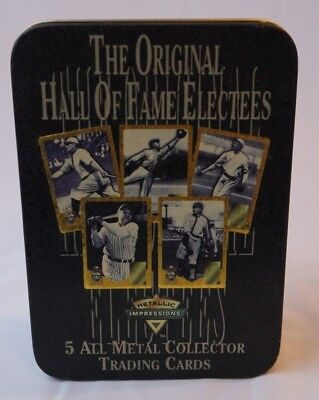 AVON. Hall of Fame Electees. 5 All Metal Trading Cards. Babe Ruth, Ty Cobb, Etc