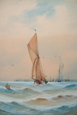 FISHING BOATS - ORIGINAL EARLY 20th CENTURY WATERCOLOR - SIGNED WITH INITIALS
