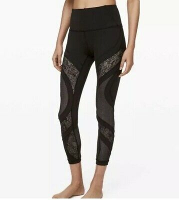 "9777d0337c7ff Lululemon Athletica WUNDER UNDER TIGHT 25""LACE LEGGING BLACK YOGA RUN NWT 8"