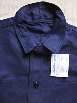Excellent Vintage French Artisan Work Chore Jacket Strong Azure Blue Cotton L