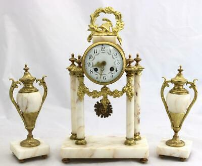 Antique French Mantle Clock 3 Piece Set 8 Day Bell Striking White Marble Portico