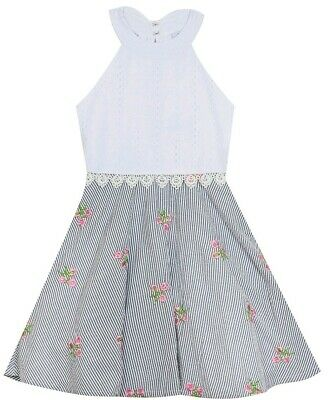 Rare Editions Big Girl's Eyelet Bodice Embroidered Floral Skirt Dress-Size-12
