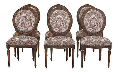 L47546EC: Set Of 6 French Louis XV Style Tapestry Upholstered Dining Chairs