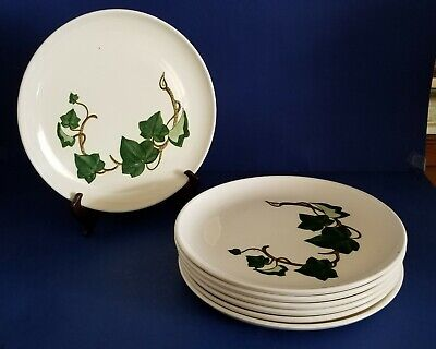 "Lot Of 7 Vintage Metlox Poppy Trail California Ivy 10"" Dinner Plates 1946-1989"