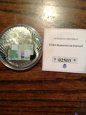 "Cased , Silvered, German Manuf. Medallion "" 100 Euro Banknote"" With COA"