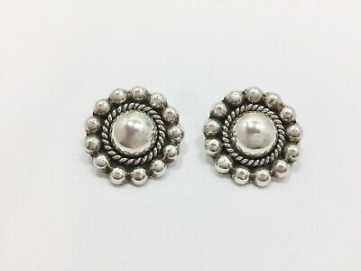 Vintage Mexican Concho Clip On Earrings Sterling Silver CII 925 Mexico
