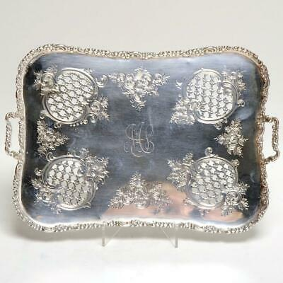 Vintage Sterling Silver Reticulated/Engraved Footed Tray