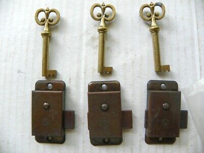 3 Spegelstein Antique Look Replacement Drawer Cabinet Locks & Keys, Lock Key Set
