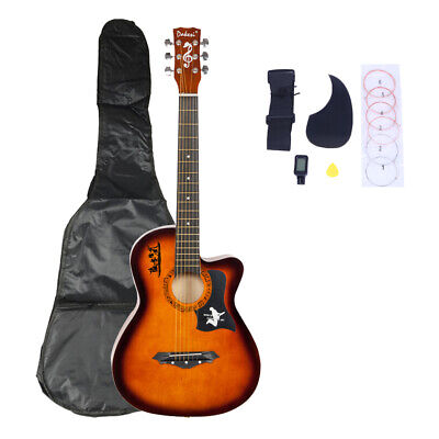 38in Beginner Acoustic Guitar Musical Instrument Kit w/ Case, Strap, Tuner